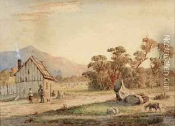 Untitled (rural Scene And Farmhouse) Oil Painting - Abraham Louis Buvelot