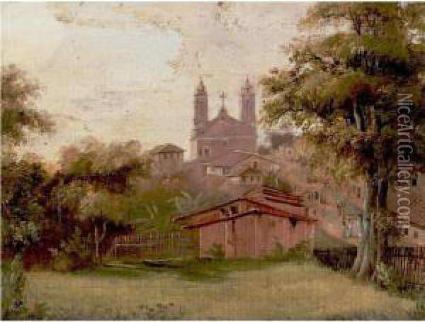 View Of The Church Of Santa Fede, Mexico Oil Painting - Abraham Louis Buvelot