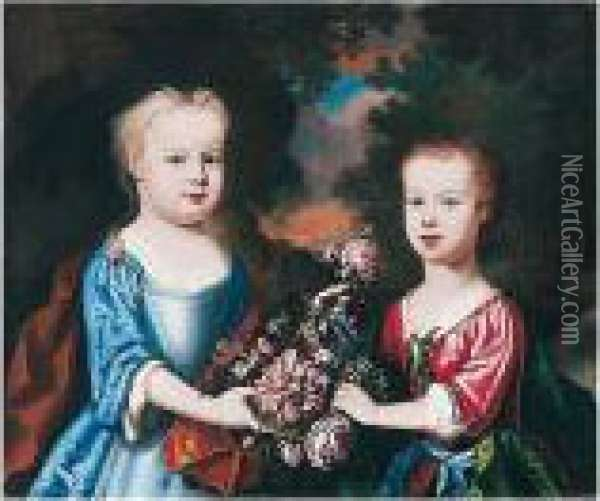 Portrait Of Two Children With Flowers In A Landscape Oil Painting - Robert Byng