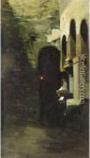 Nun In Contemplation Oil Painting - Vincenzo Cabianca