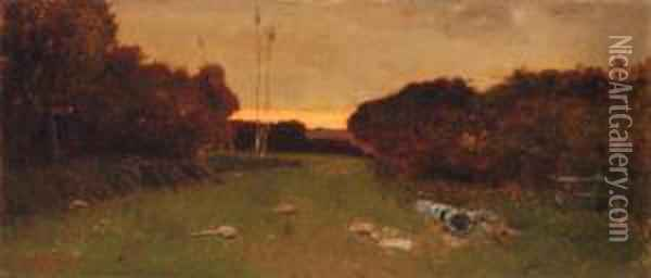 Twilight In The Campagna Oil Painting - Vincenzo Cabianca