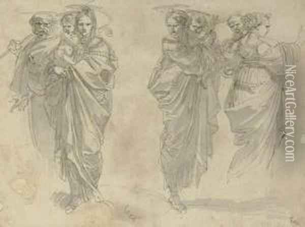 Three Studies Of The Holy Family Oil Painting - Giuseppe Cades