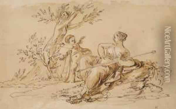 Daphne Transformed Into A Tree Shown By Cupid To A Recliningvenus Oil Painting - Giuseppe Cades