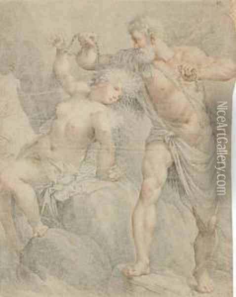 Hercules Liberating Hesione Oil Painting - Giuseppe Cades