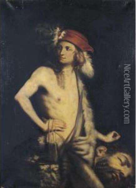 David With The Head Of Goliath Oil Painting - Guido Cagnacci