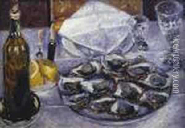 Nature Morte Aux Huitres Oil Painting - Gustave Caillebotte