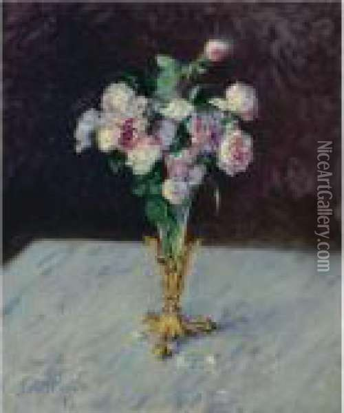 Property From The Collection Of Paul R. And Mary Haas              Bouquet De Roses Dans Un Vase De Cristal Oil Painting - Gustave Caillebotte