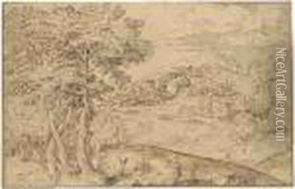 An Extensive Landscape With Shepherds And Their Flocks Below Atown Oil Painting - Domenico Campagnola