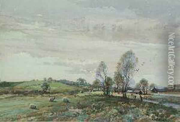Cattle And Sheep Grazing Oil Painting - Thomas, Tom Campbell
