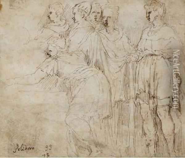 Six Standing Figures In Drapery  Turned To The Left (recto); A Standing Female In Drapery Turned To The  Right (verso) Oil Painting - Giulio Campi