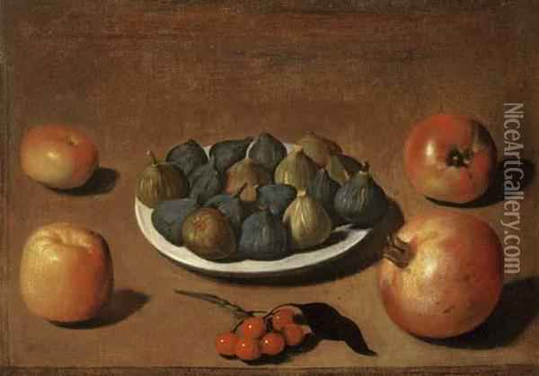 Plate Of Figs With Apples, Cherries And A Pomegranate Oil Painting - Vincenzo Campi
