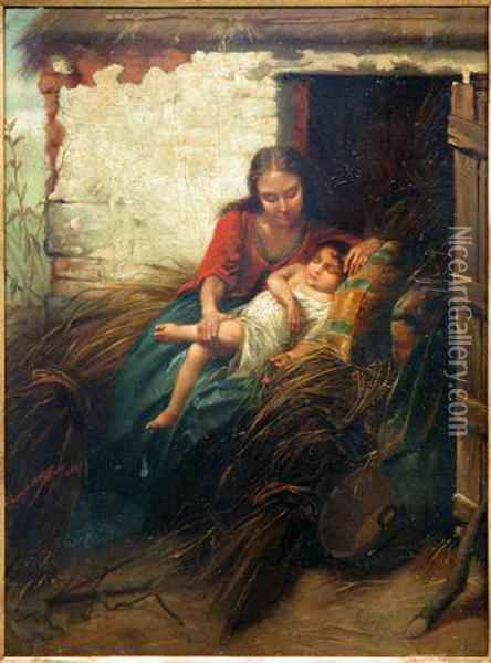 Mother And Her Sleeping Child Oil Painting - Henry Campotosto