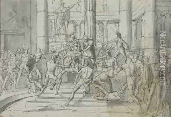 The Assassination Of Caesar Oil Painting - Vincenzo Camuccini