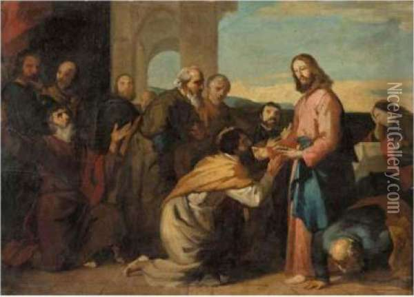 The Communion Of The Apostles Oil Painting - Vincenzo Camuccini