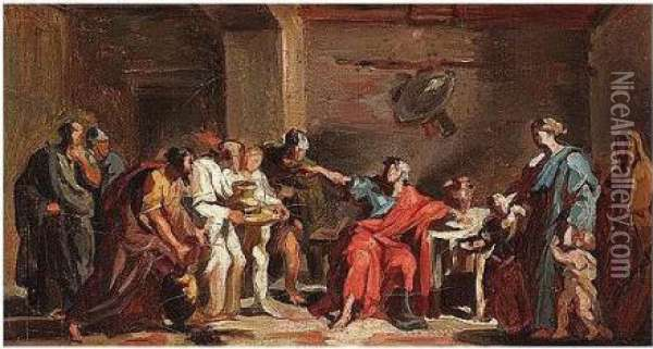 Curius Dentatus Refusing Gifts From The Samnites Oil Painting - Vincenzo Camuccini