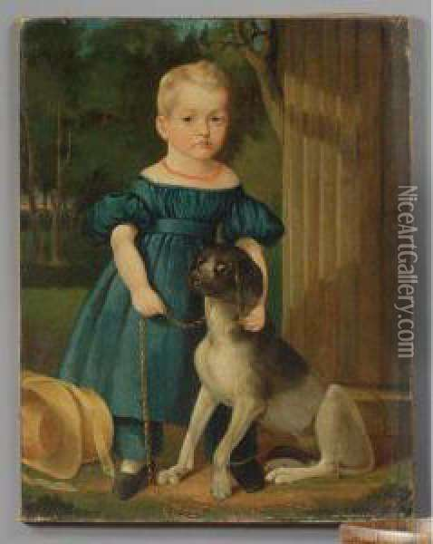 Portrait Of A Young Girl With Dog Oil Painting - John Carlin