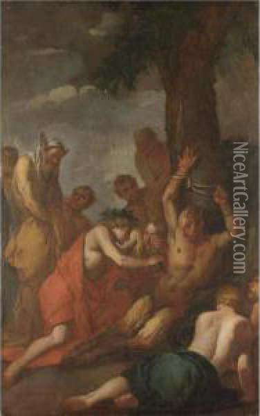 Apollo E Marsia Oil Painting - Giulio Carpione
