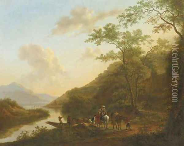 An Italianate river landscape with travellers by a ferry Oil Painting - Jan Dirksz. Both