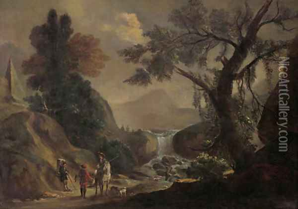 Falconers and a traveller on a path, by a torrent landscape Oil Painting - Jan Frans Bredael