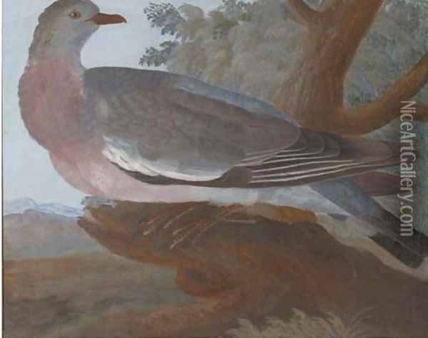 A wood pigeon on a tree stump, an extensive landscape beyond Oil Painting - Johannes Bronkhorst