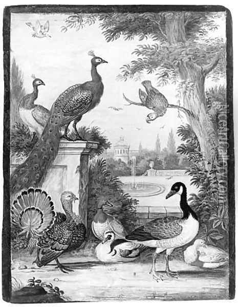Peacocks, a Parrot, a Goose, a Turkey, Ducks and another Bird in a palatial Garden Oil Painting - Johannes Bronkhorst