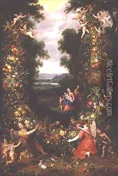 Holy Family in a landscape with a garland of fruit and vegetables Oil Painting - J. & Avont, P. van Brueghel
