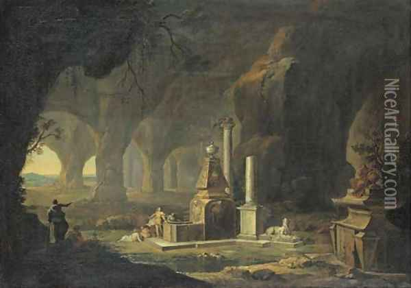 A grotto with figures by a fountain Oil Painting - Johann Georg Bohm