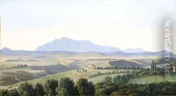 A view in the Roman campagna Oil Painting - Antoine-Felix Boisselier