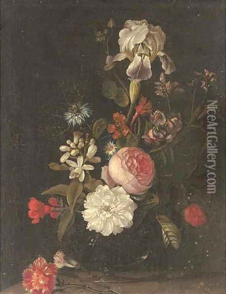 Carnations, narcissi, roses, an iris and other flowers in a glass vase on a ledge Oil Painting - Elias van den Broeck
