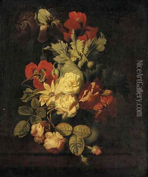 Roses and other flowers in a vase on a ledge Oil Painting - Elias van den Broeck