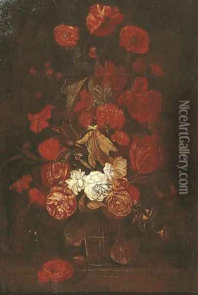 Roses and other flowers in a glass vase on a ledge Oil Painting - Elias van den Broeck