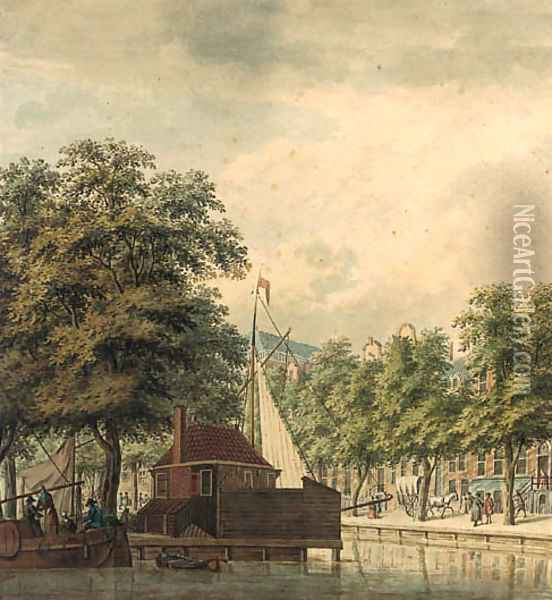 A view of a canal in a town (Amsterdam ) Oil Painting - Jan De Beijer