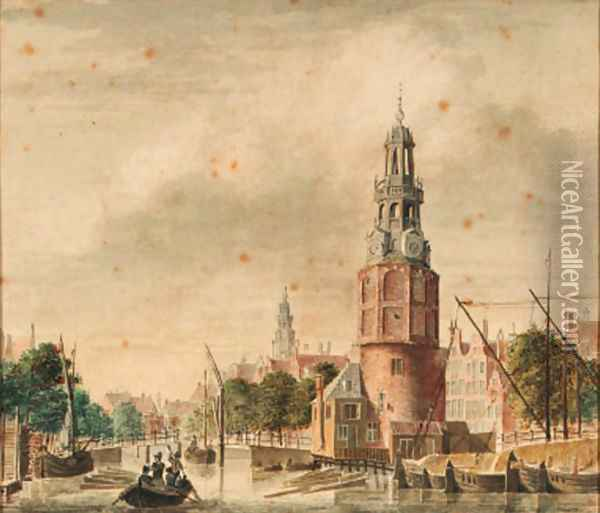 A view of the Oude Schans with the Montelbaanstoren, Amsterdam, the tower of the Zuiderkerk beyond Oil Painting - Jan De Beijer