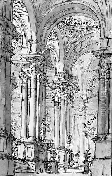 View of the terraced Colonnade of a Palace Oil Painting - Carlo Galli Bibiena