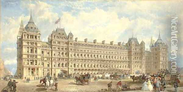 Competition Design for St Pancras Station, circa 1870 Oil Painting - Edward Middleton Barry