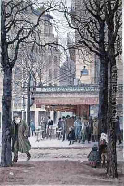 Queue at the Tabac on the corner of the Avenue du Maine and the rue Gassendi, Paris Oil Painting - Felix Brard