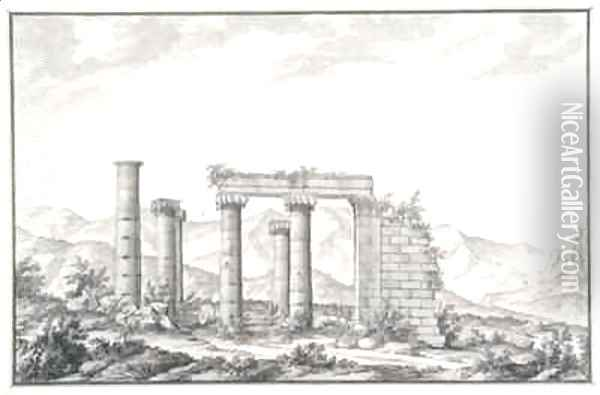 View of the ruins of an Ionic temple at Sardis, probably the Temple of Neptune Oil Painting - Giovanni Battista (Giambattista) Borra