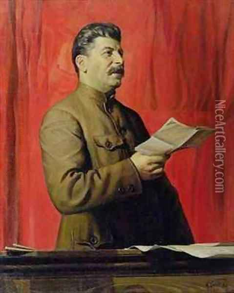 Portrait of Josif Stalin Oil Painting - Isaak Israilevich Brodsky