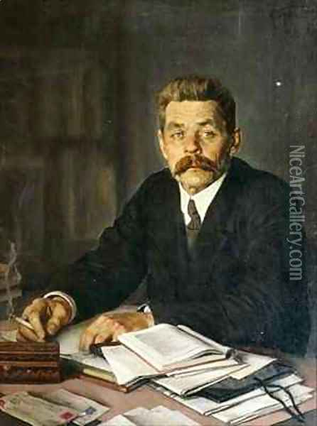 Portrait of the Author Maxim Gorky (1868-1939) Oil Painting - Isaak Israilevich Brodsky