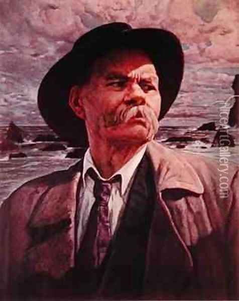 Maxim Gorky Oil Painting - Isaak Israilevich Brodsky