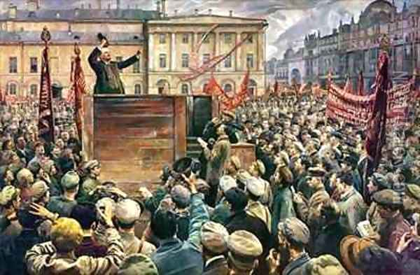 Vladimir Ilyich Lenin (1870-1924) Addressing the Red Army of Workers on 5th May 1920 Oil Painting - Isaak Israilevich Brodsky