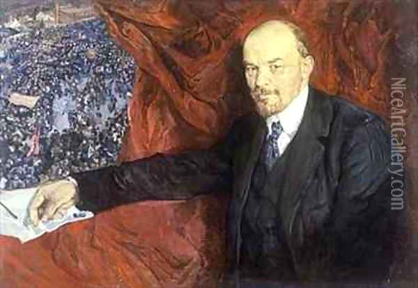 Vladimir Ilyich Lenin (1870-1924) and a Demonstration Oil Painting - Isaak Israilevich Brodsky