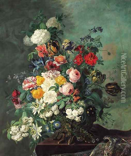 Still life with flowers on a ledge Oil Painting - Jean Benner