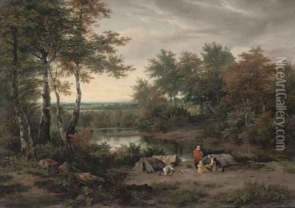 Camping on the river bank Oil Painting - Joseph Vincent Barber
