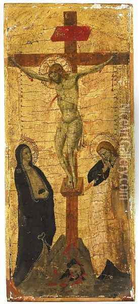 Christ on the Cross with the Virgin and Saint John the Evangelist Oil Painting - Lippo Di Benivieni