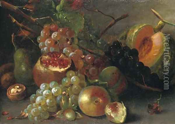 Grapes, a melon, cherries, a walnut, a pomegranate and other fruits on a wooden ledge Oil Painting - Abraham Brueghel
