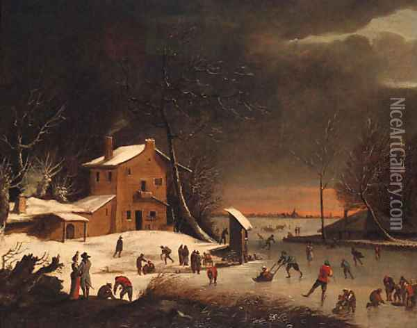 A winter landscape with skaters on a frozen waterway near a farmhouse Oil Painting - Anthonie Beerstraten