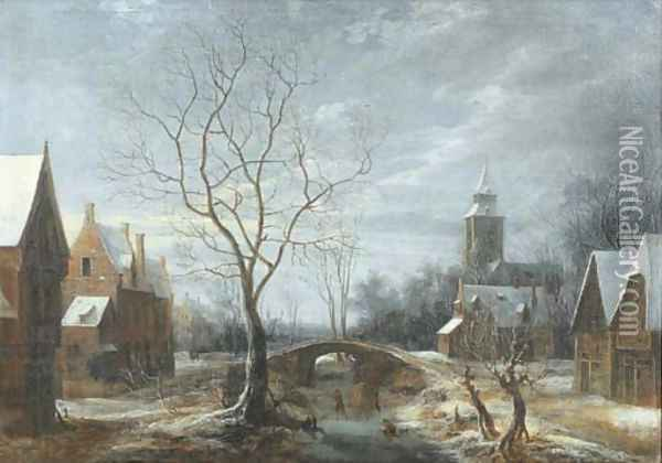 A winter landscape with figures on a frozen waterway in a village Oil Painting - Anthonie Beerstraten
