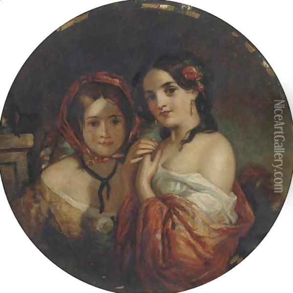 Portrait of two young girl Oil Painting - Charles Baxter