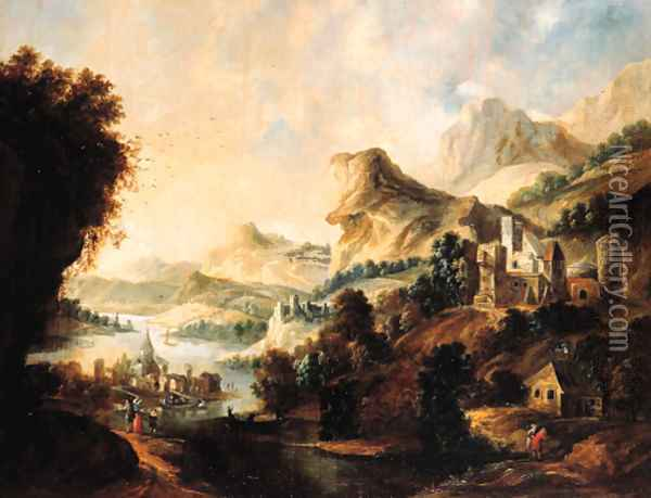 An extensive Rhenish landscape with an elegant couple and travellers on a path above a valley Oil Painting - Gerrit Van Battem